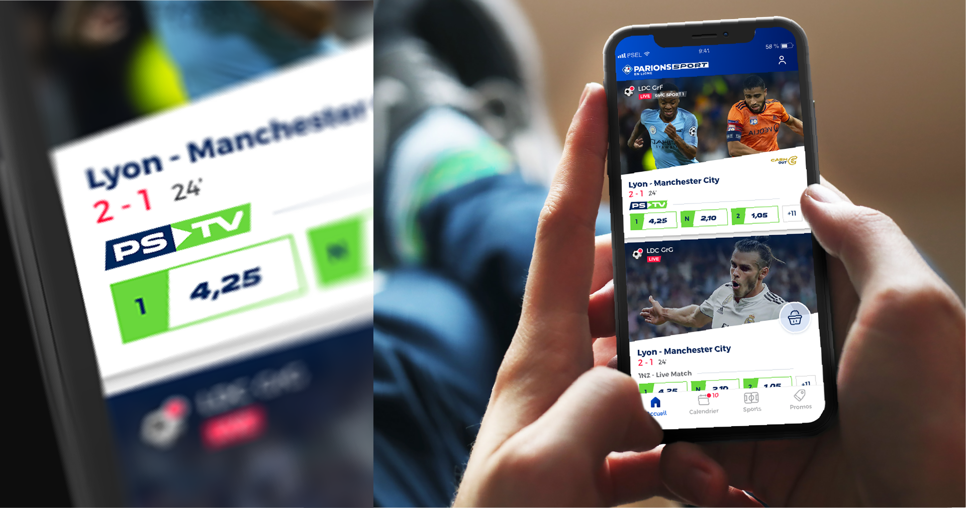 Mockups de l'application Parions Sport