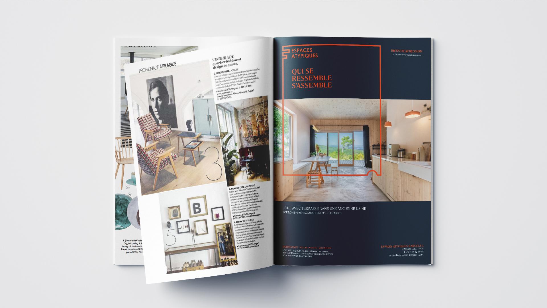 Brochure ouverte avec intégration espaces atypiques