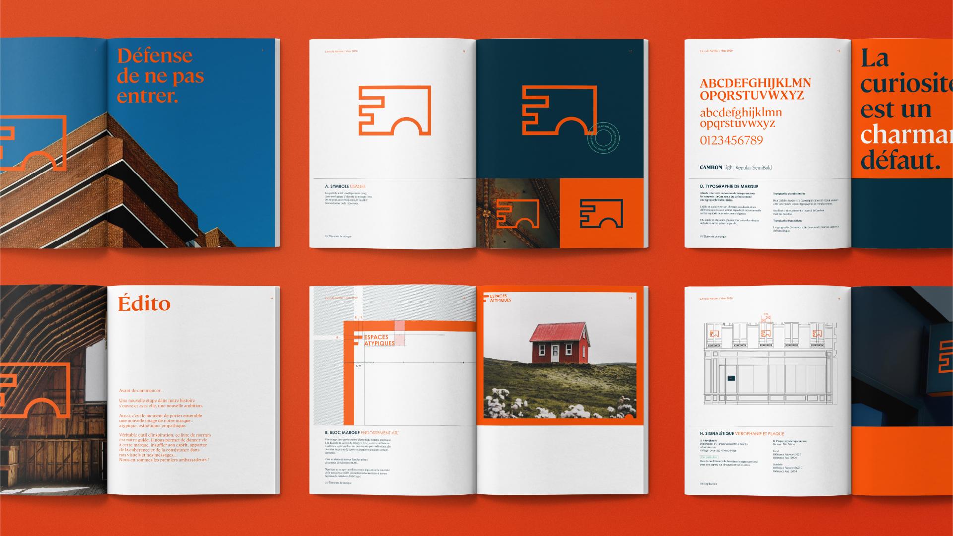 Dernier écran montrant le livre de marque Espaces Atypiques, avec les guidelines et bonnes pratiques pour utiliser l'identité