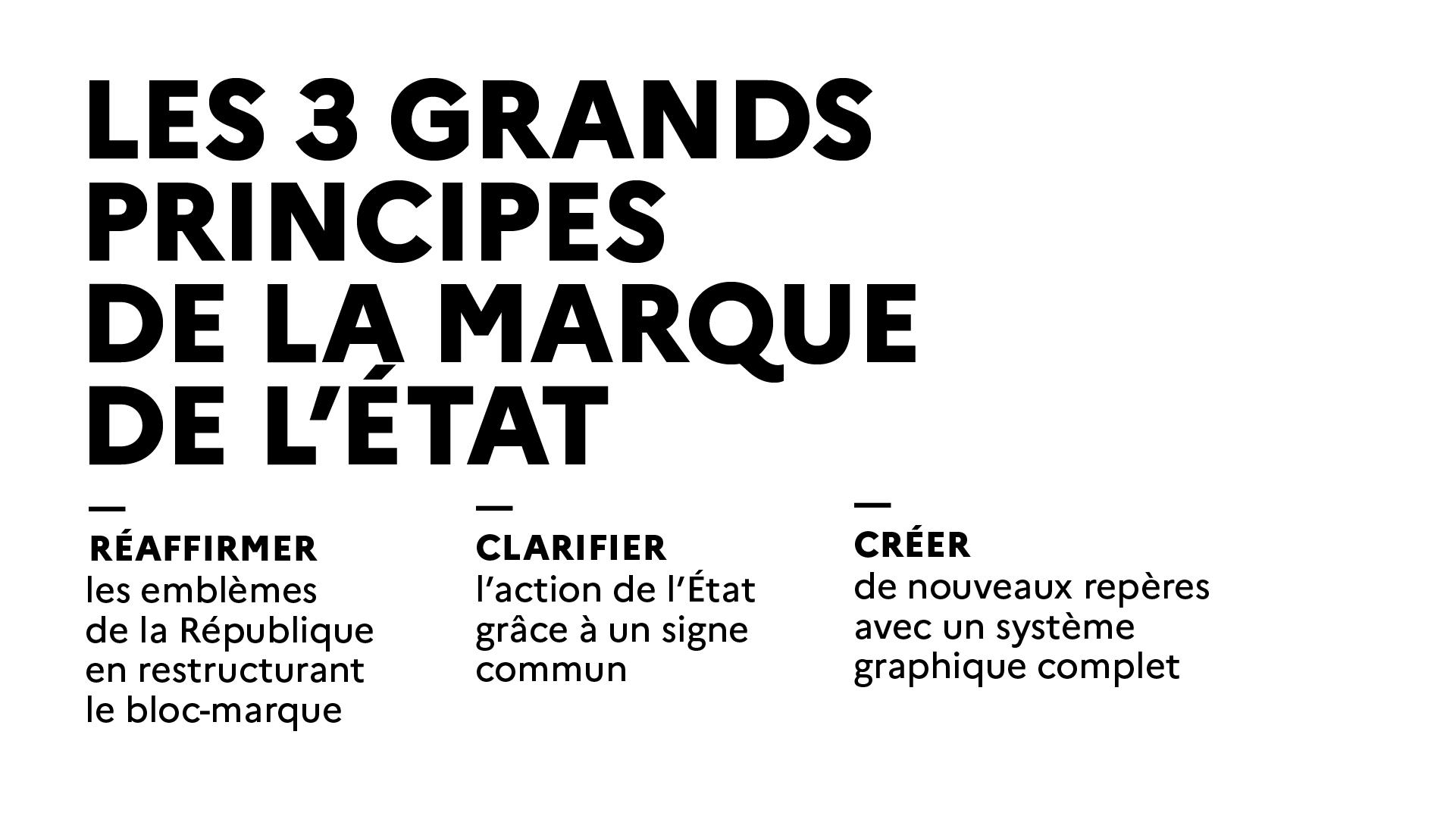 Les 3 grands principes de la marque de l'État : Réaffirmer, Clarifier, Créer