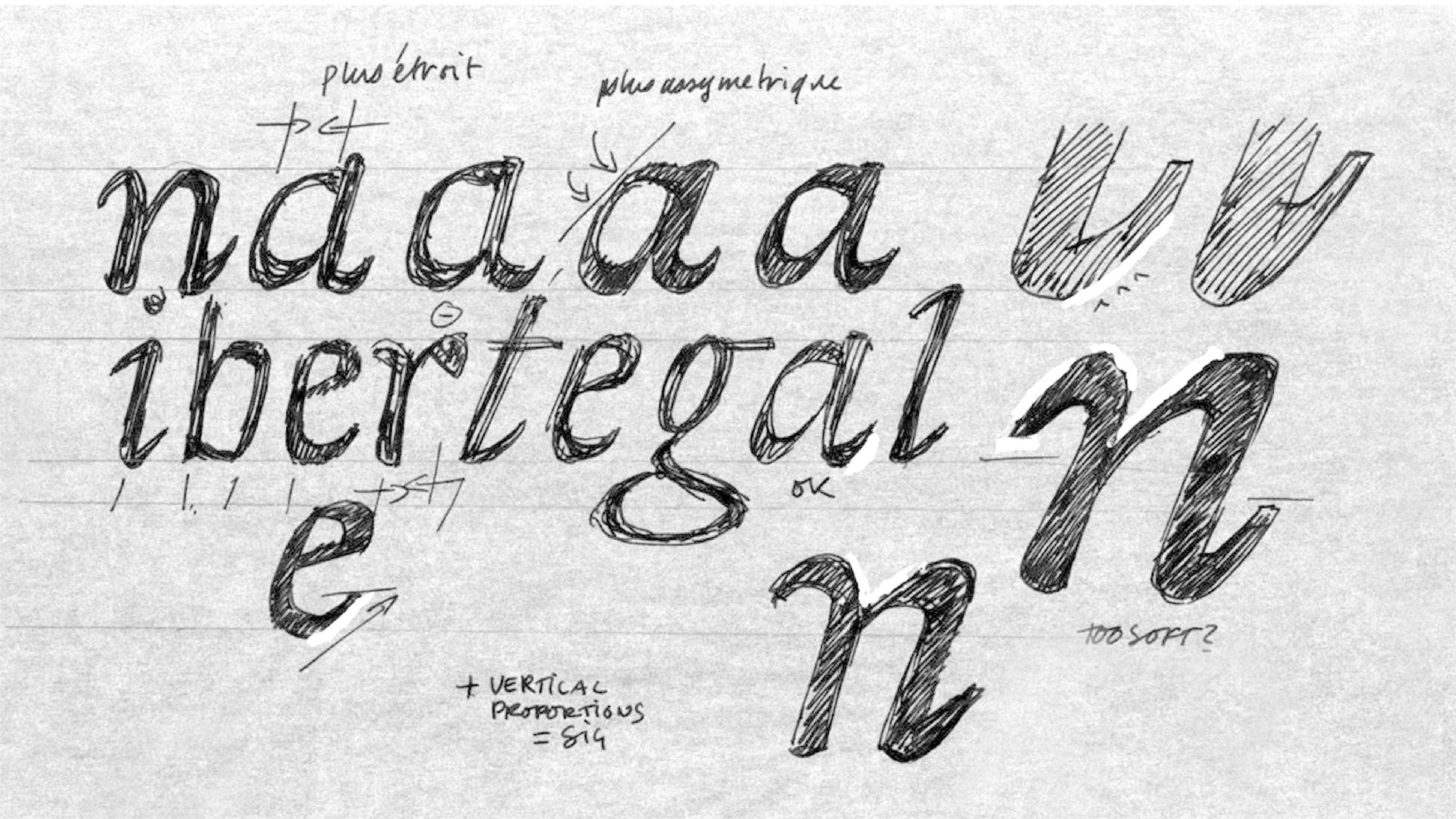 Rough et croquis des essais concernant la typographie utilisée pour la Devise
