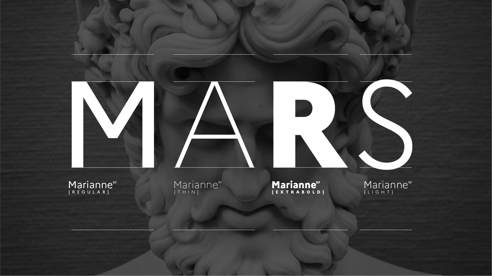 Spécimen de la Marianne, la nouvelle typographie de l'État Français, le mot MARS est écris