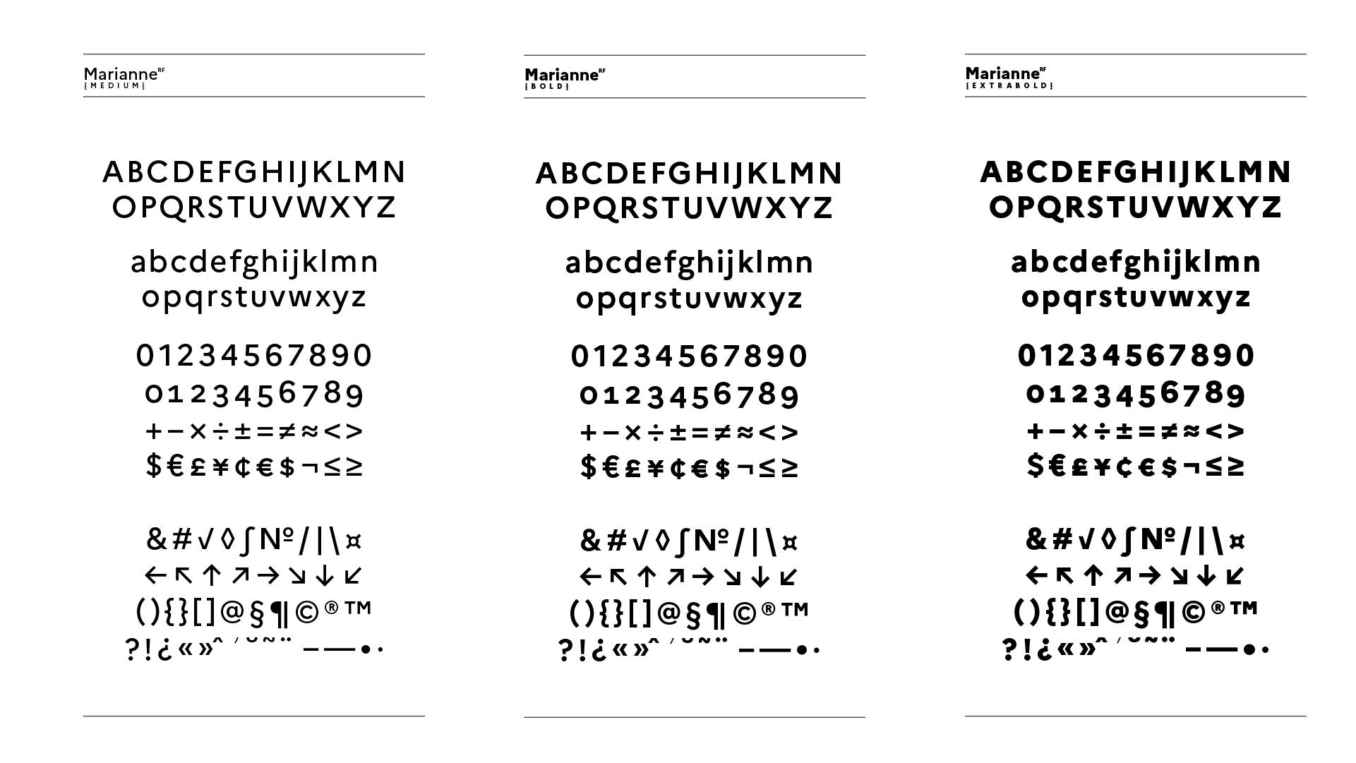 Spécimen de la Marianne, la nouvelle typographie de l'État Français