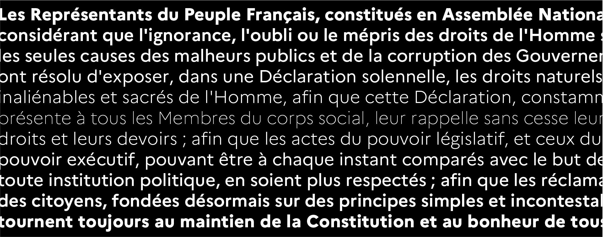 Spécimen de la Marianne, la nouvelle typographie de l'État Français reprenant la déclaration des droits de l'homme et du citoyen
