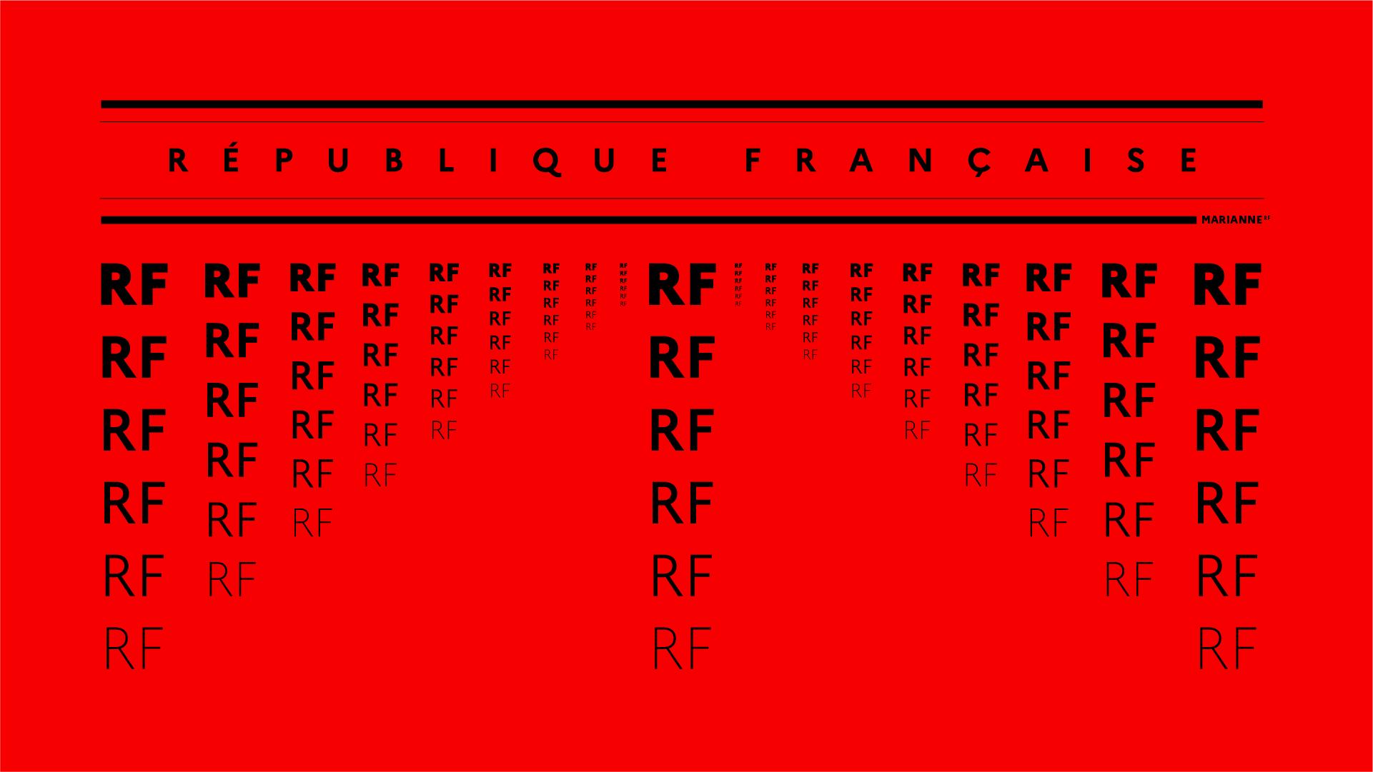 Spécimen de la Marianne, la nouvelle typographie de l'État Français, avec écris : République Française