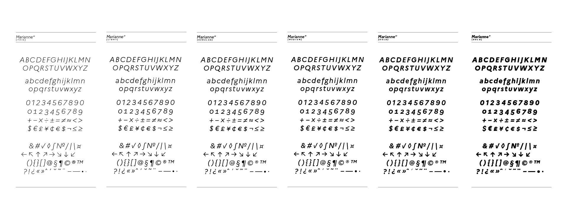 Spécimen de la Marianne, la nouvelle typographie de l'État Français, version italic