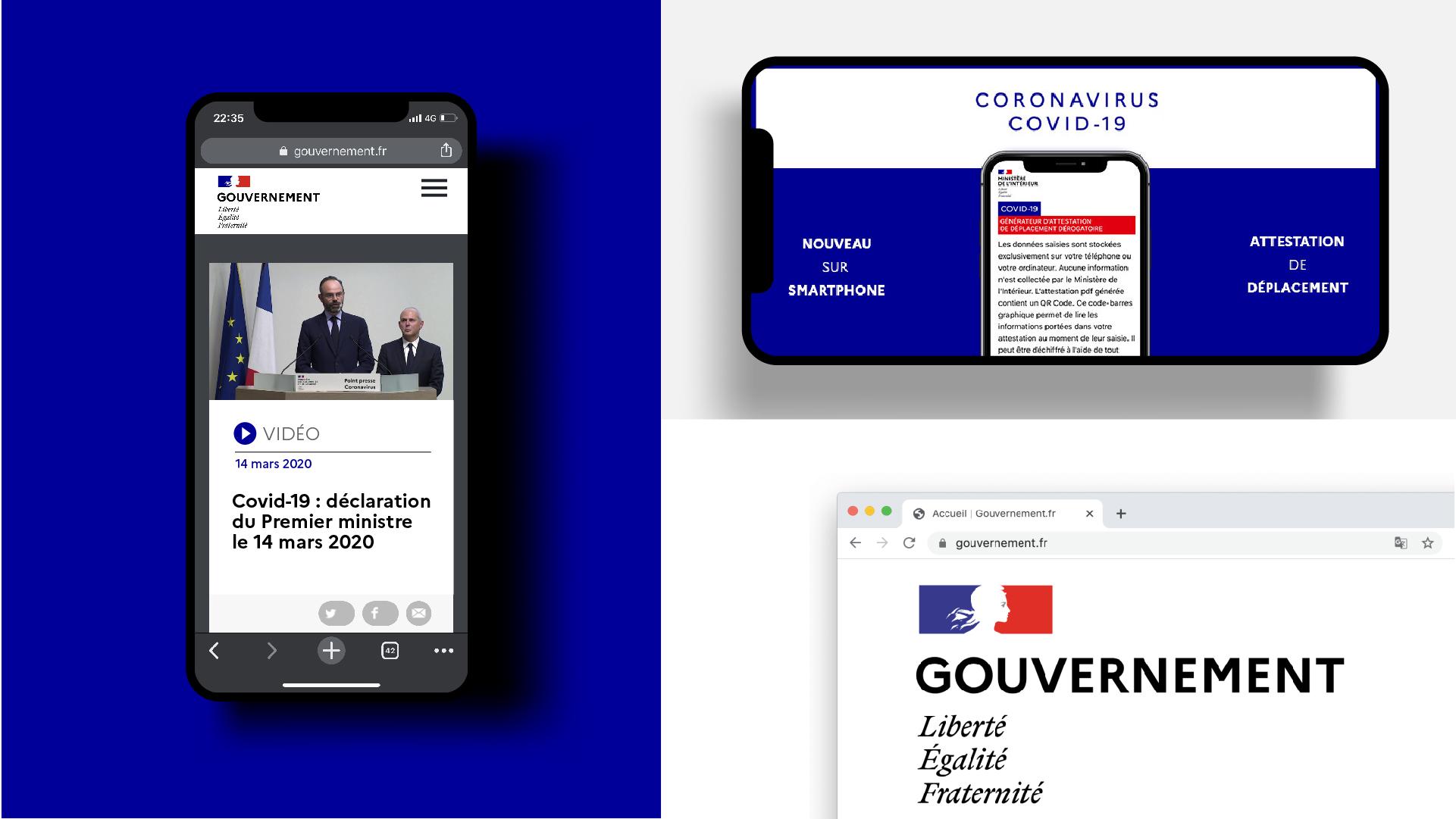 Utilisations sur différents supports numériques du logotype du Gouvernement Français avec la typographie Marianne, on peut aussi voir le favicon