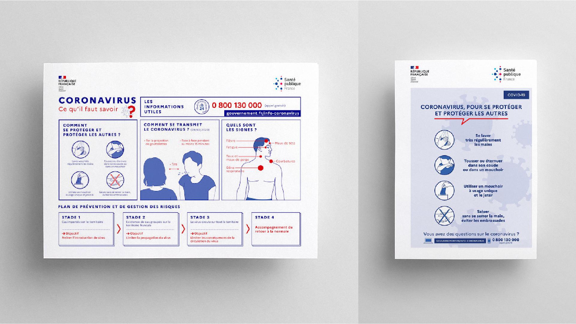 Deux annonces liée au coronavirus 2020 en format portrait et paysage, elle expliquent les gestes barrières, ont y voir la façon dont la marque de l'État vie sur le support