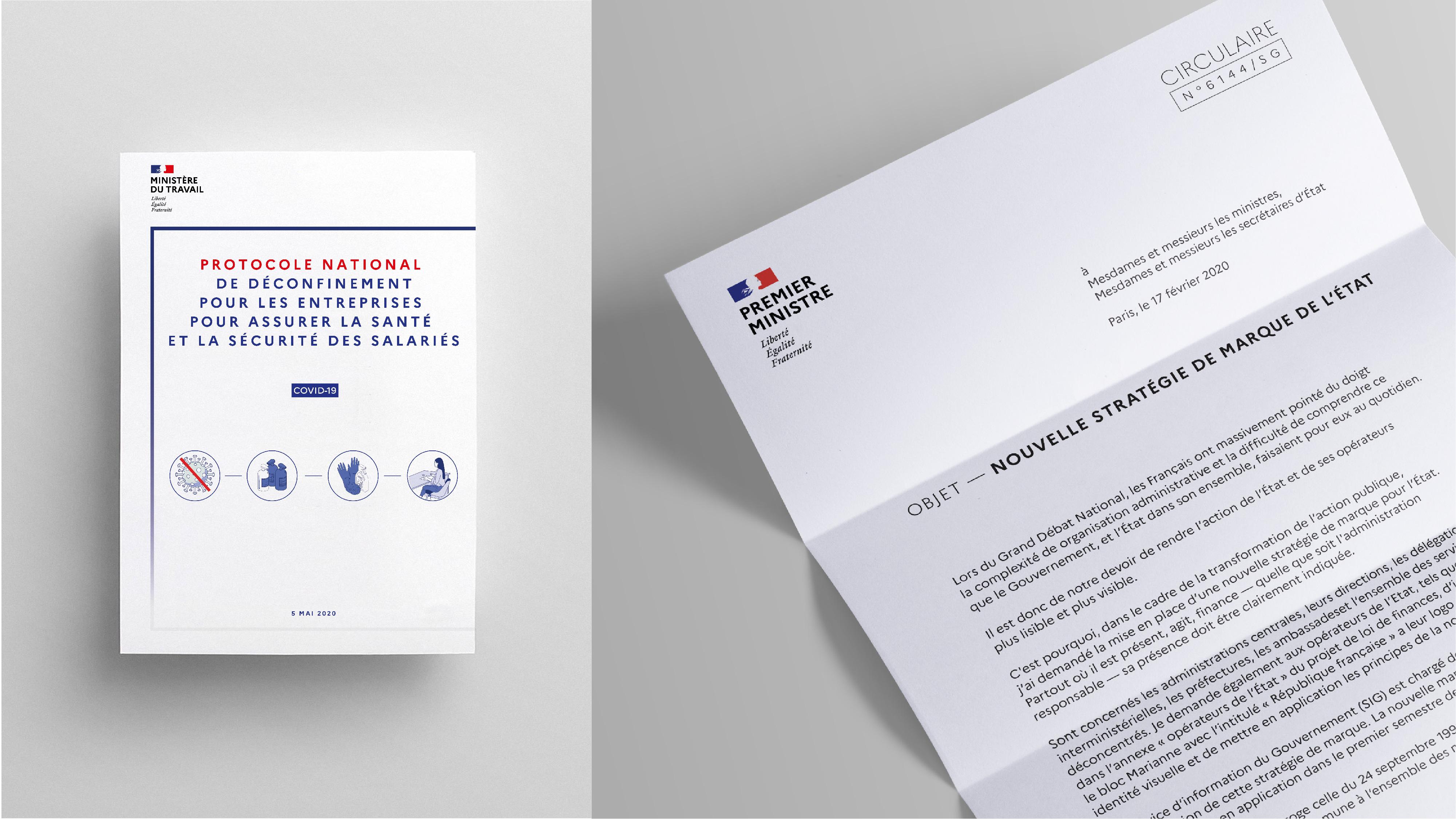 """Visuel montrant un papier intitulé : La nouvelle stratégie de l'État"""" ainsi qu'un visuel sur le déconfinement lié au coronavirus 2020, les deux éléments montrent comment le logotype s'inclue dans ces communications"""