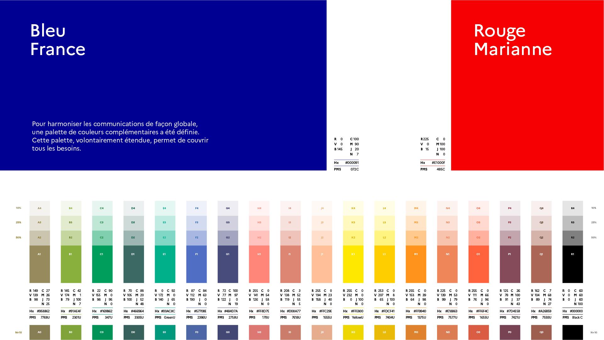 Palette de couleurs avec le Bleu France et le Rouge Marianne